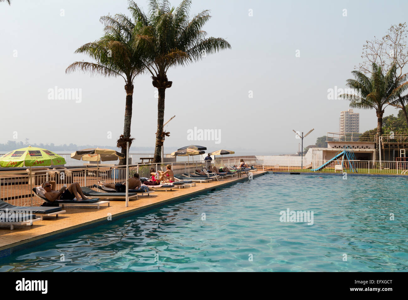 A swimming pool in a club ,Bangui, Ubangi River ,Central African Republic ,Africa - Stock Image