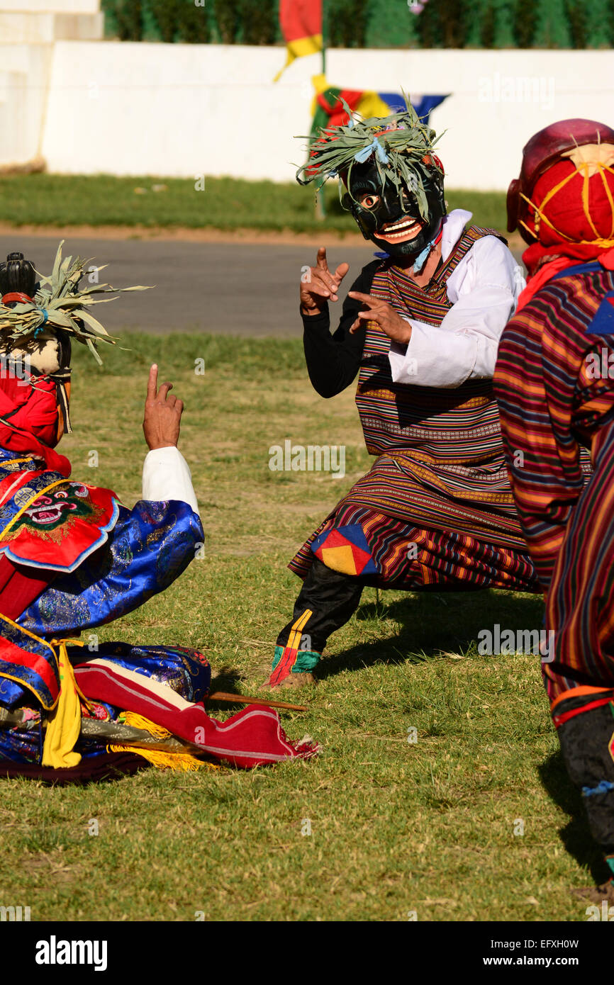 A dance form at Tshechu  annual religious Bhutanese festivals - Stock Image