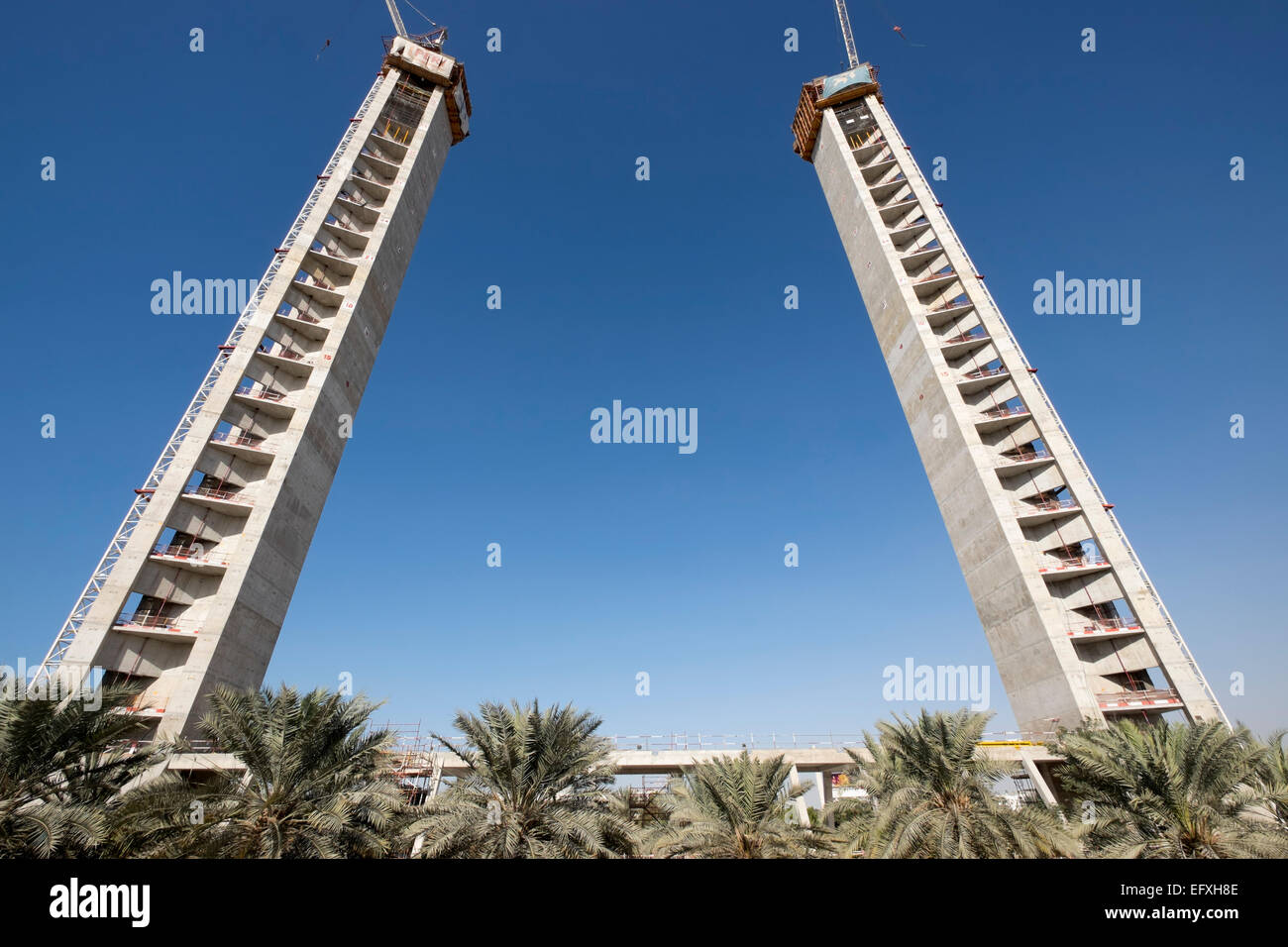 Construction of the Dubai Frame, a new landmark tourist attraction with observation platform in Zabeel Park Dubai - Stock Image