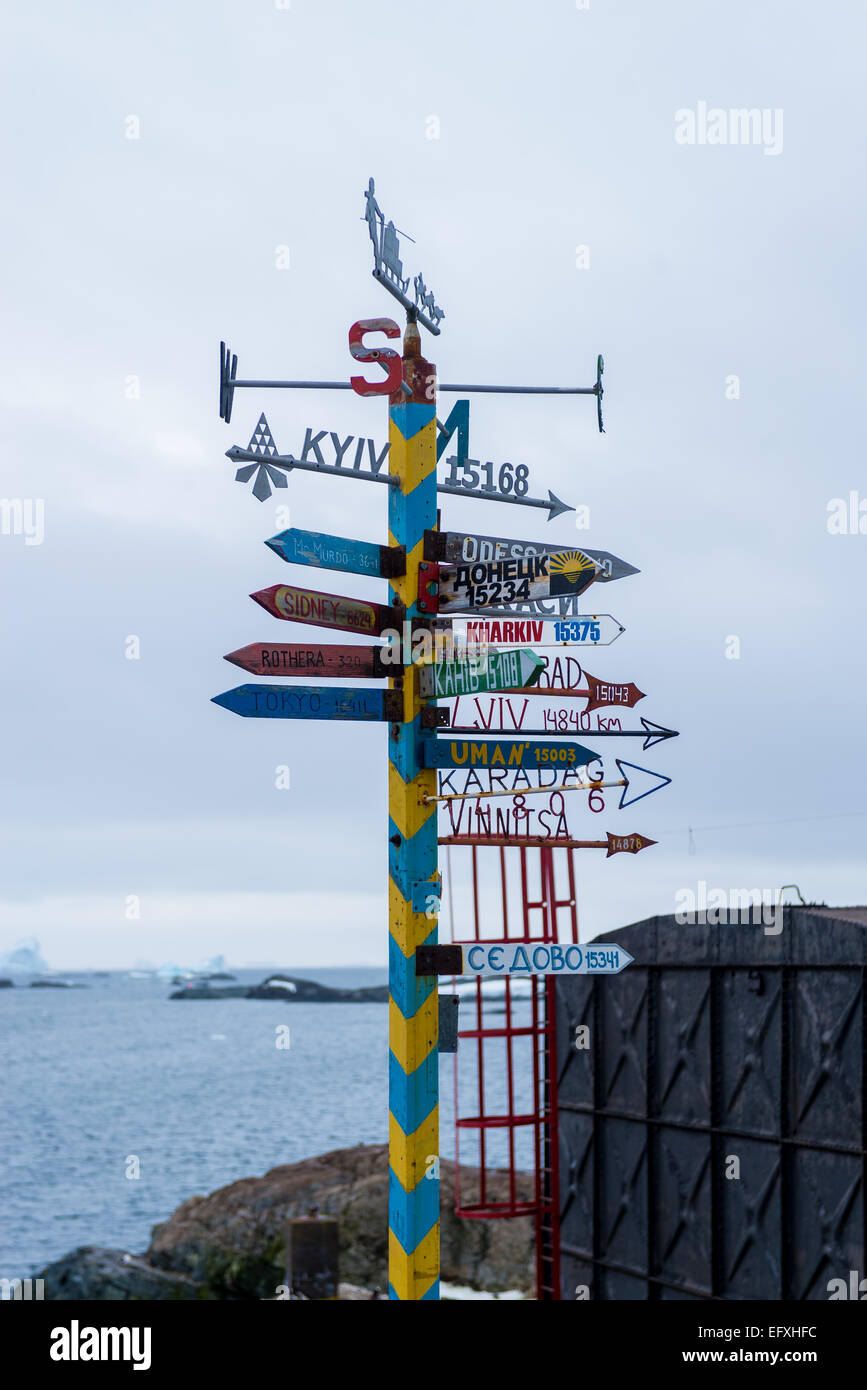 Vernadsky Ukranian Antarctic Research base, Marin Point, Galindez Island - Stock Image