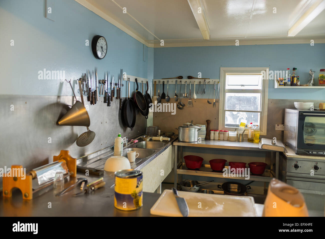 Kitchen at Vernadsky Ukranian Antarctic Research base, Galindez Island - Stock Image