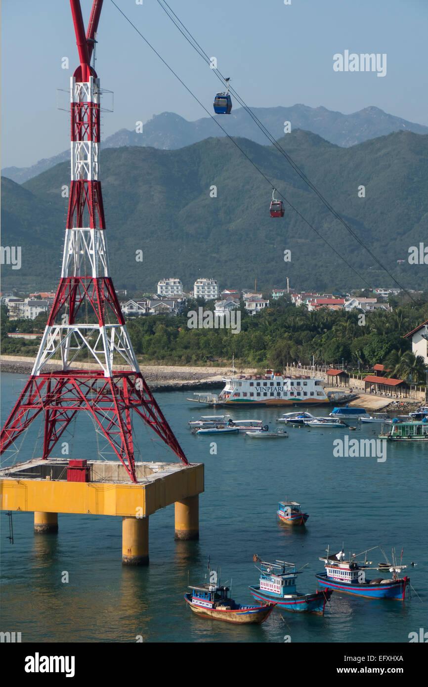 Vietnam, Nha Trang, Vinpearl cable car, mainland side - Stock Image