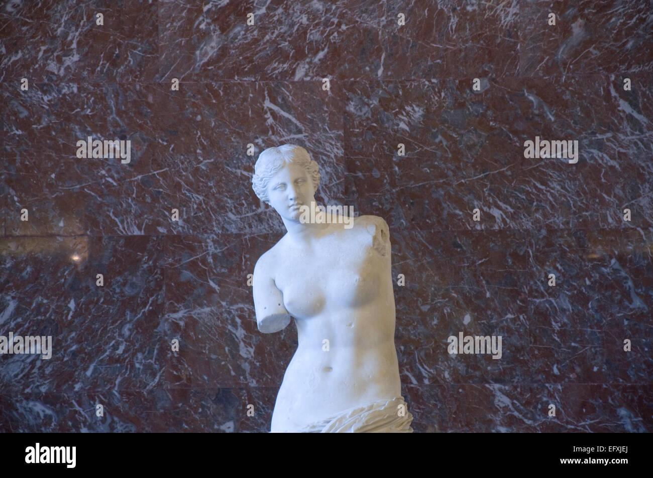 Venus de Milo sculpture in the Louvre Art Museum Paris France. Stock Photo