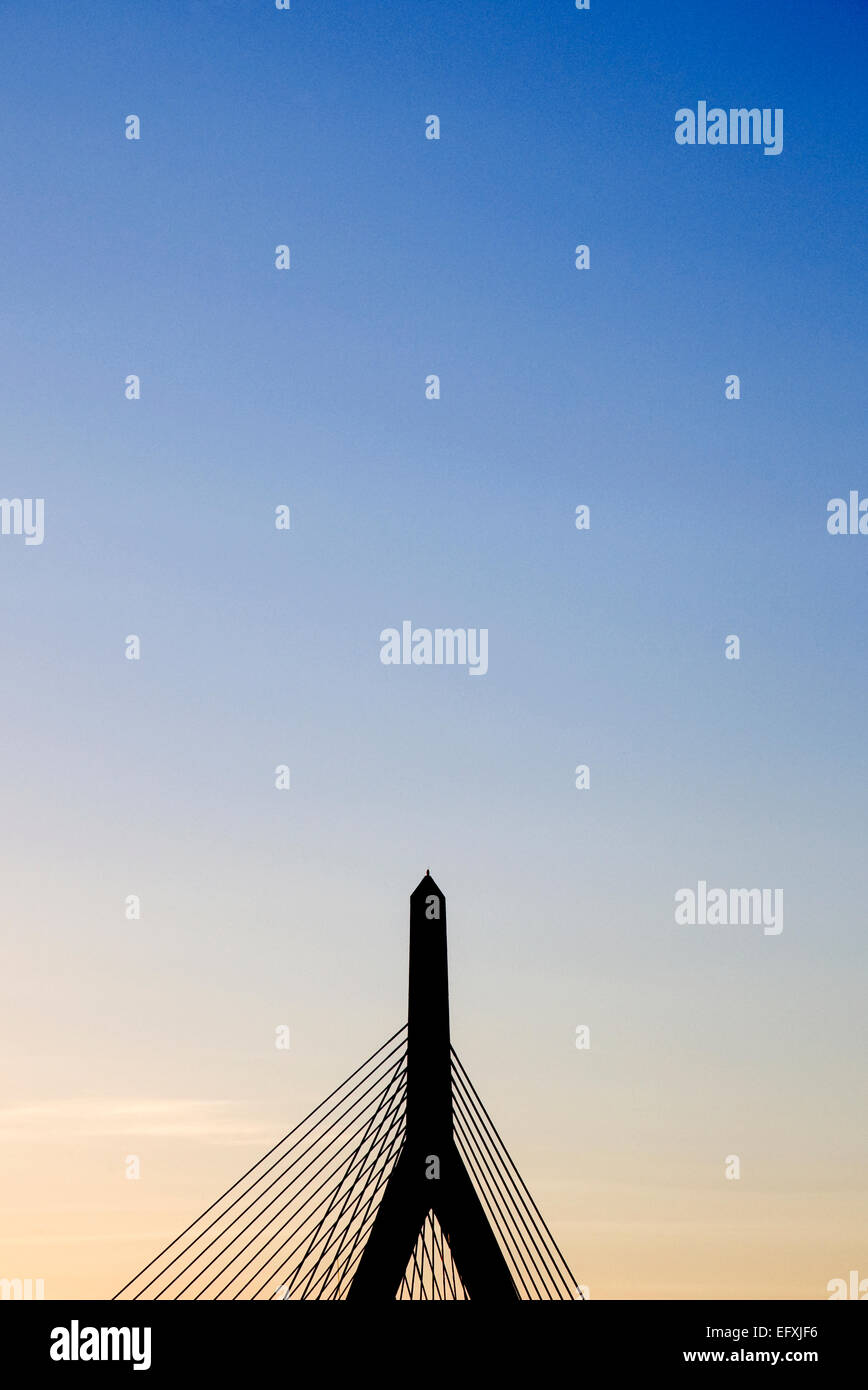 Dusk shot of Leonard P. Zakim Bunker Hill Memorial Bridge in Boston Stock Photo