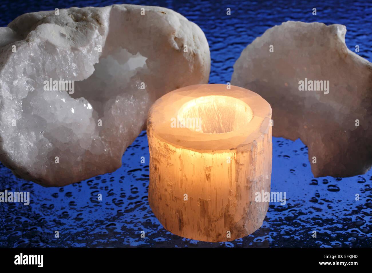 rock crystal,candlestick of selenite - Stock Image