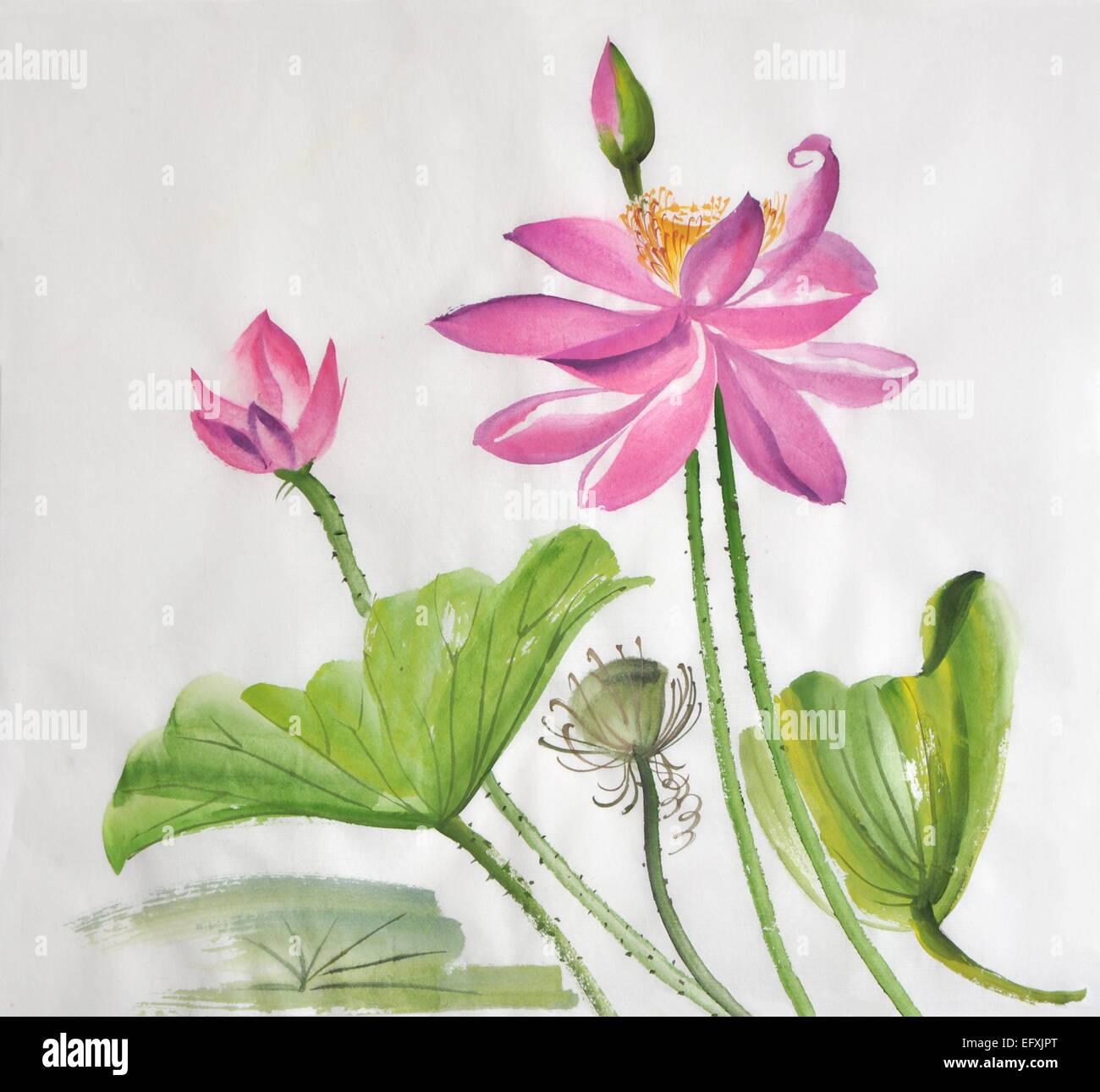 Lotus Flower Watercolor Painting On Rice Paper Original Art Asian