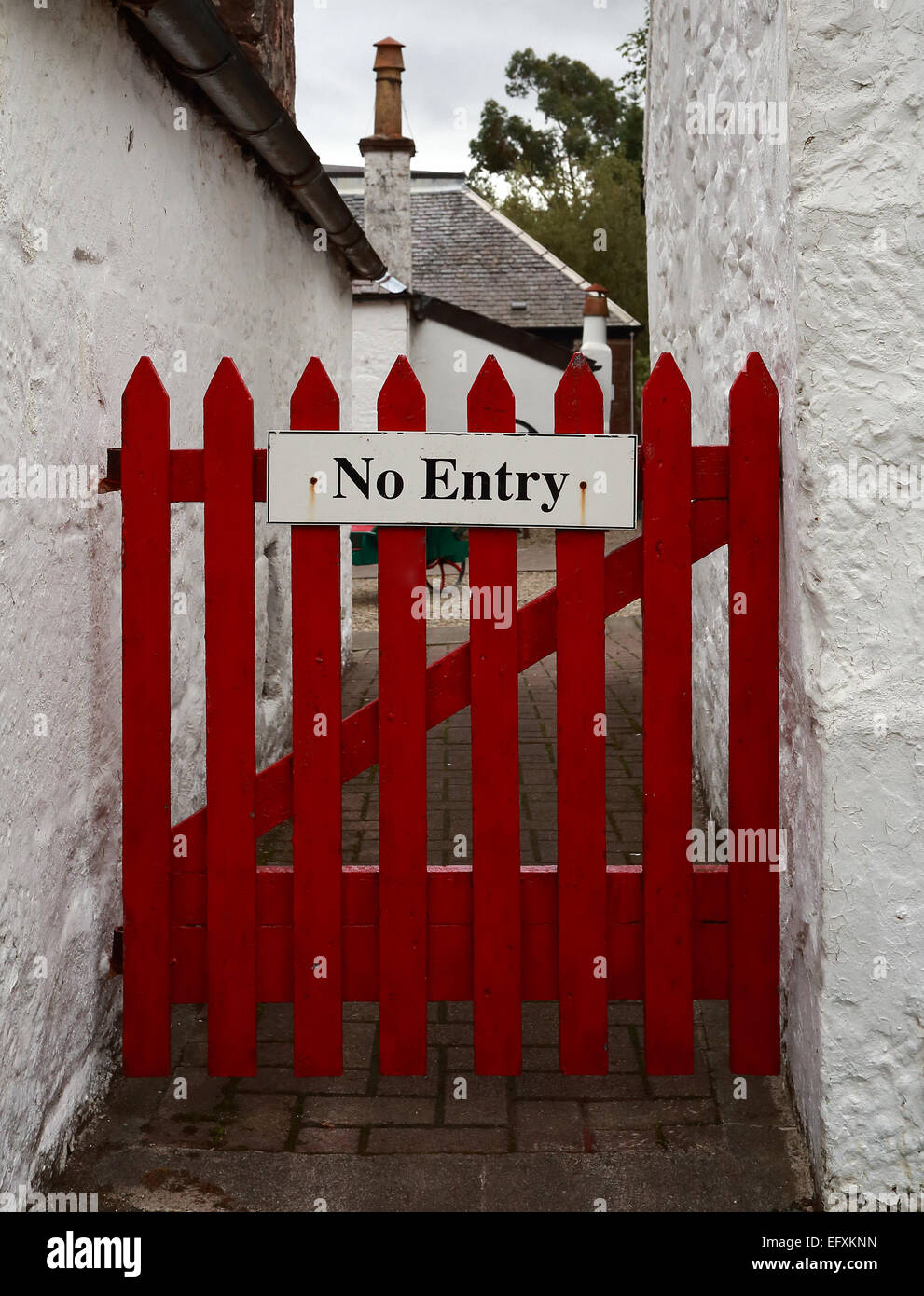 No Entry - Red wooden gate - Stock Image