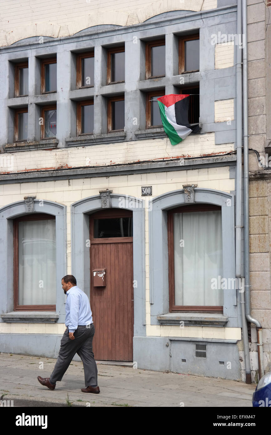 VERVIERS, BELGIUM - JULY 2014: Palestinian flag at a home in an immigrant neighborhood in Verviers, Belgium - Stock Image
