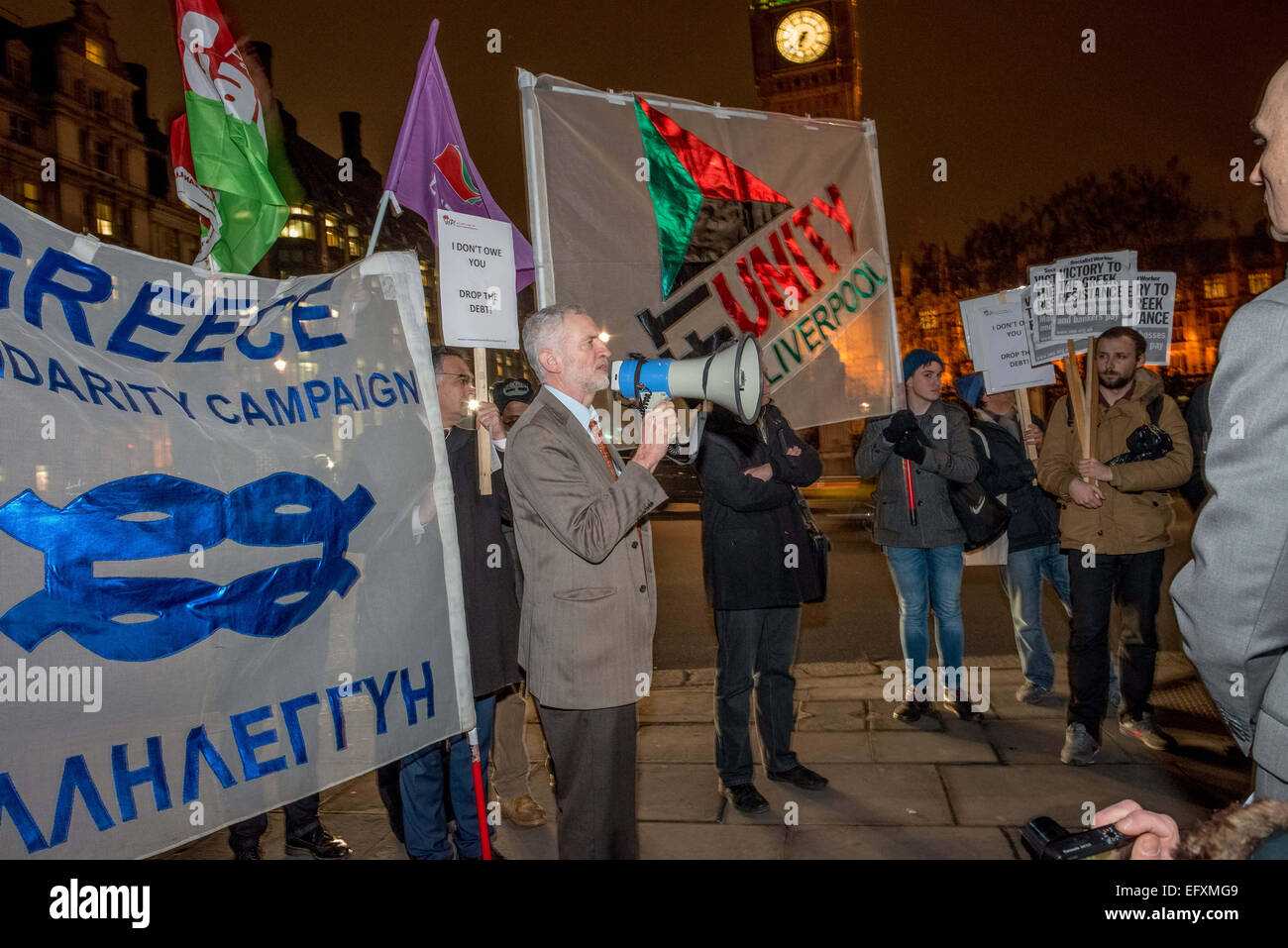 Labour MP Jeremy Corbyn joined protests in solidarity with Greek people against austerity and the actions of the - Stock Image
