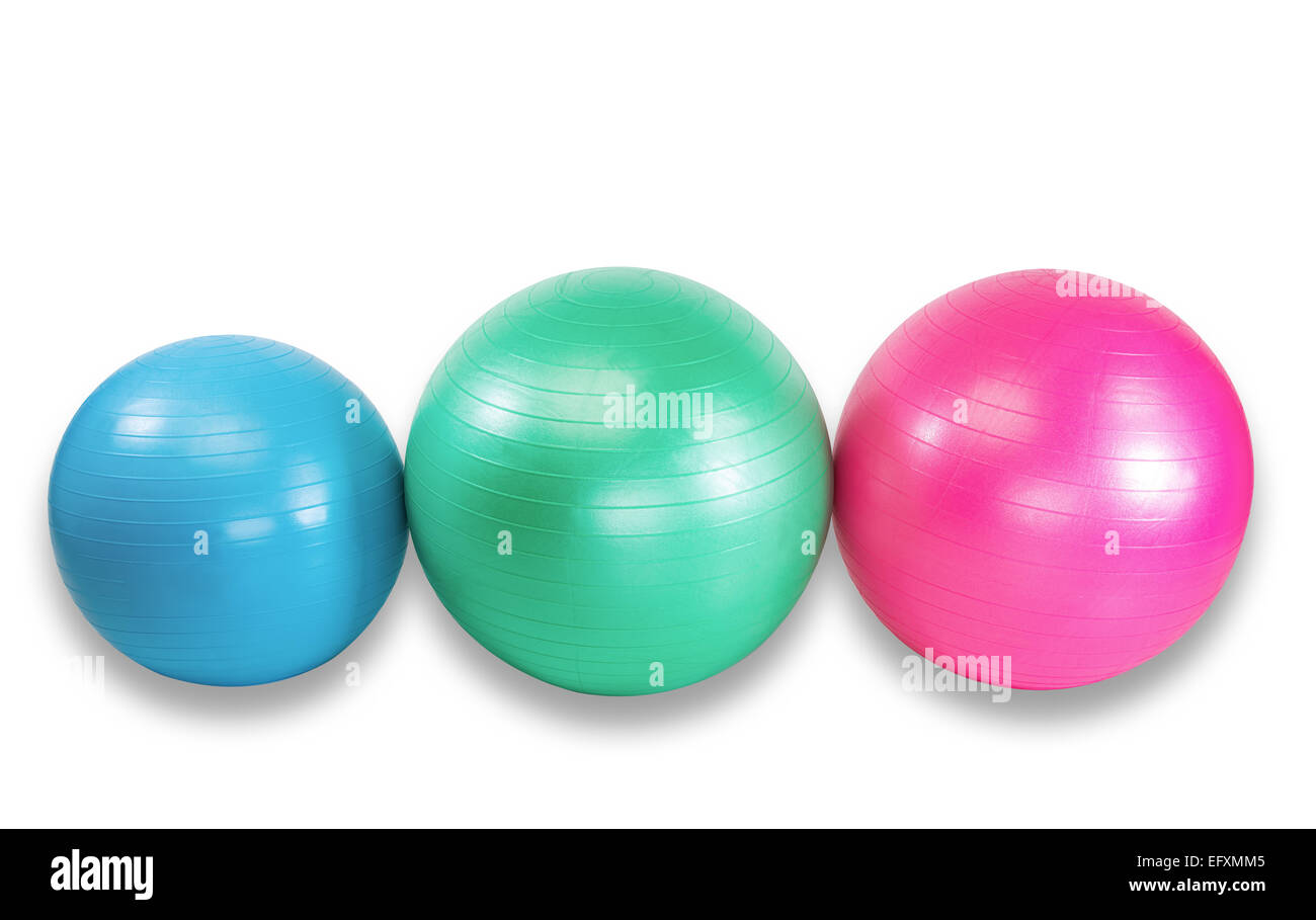 Group fitness balls for health club workout - Stock Image