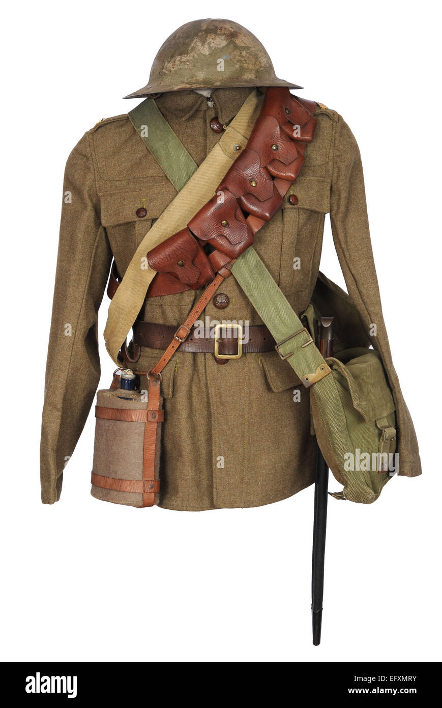 Tunic and equipment as used by British cavalry soldiers during the last two years of the Great War. WW1. - Stock Image