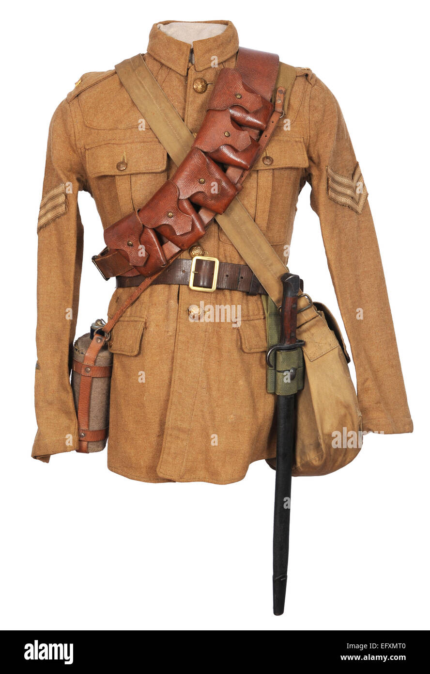 Tunic and equipment as used by British cavalry soldiers during the early years of the Great War. WW1. - Stock Image