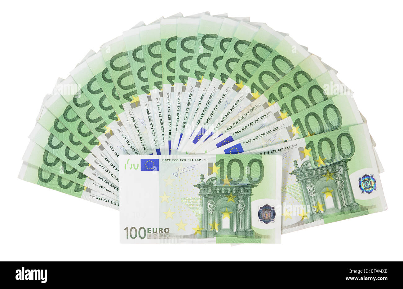 Several hundred-Euro banknotes isolated on white. - Stock Image
