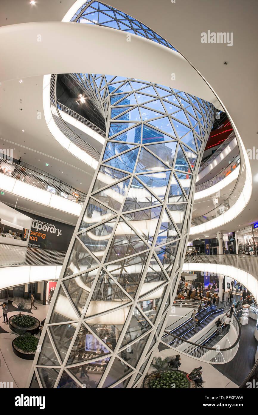 MyZeil Shopping Mall , Modern Architecture, Frankfurt, Hessen, Germany Stock Photo