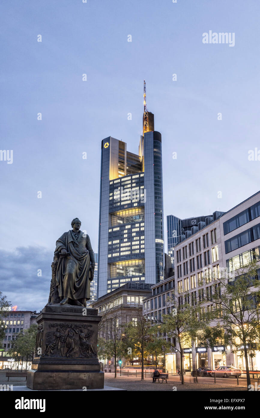 Goethe Statue , Commerzbank, Frankfurt - Main, Germany - Stock Image