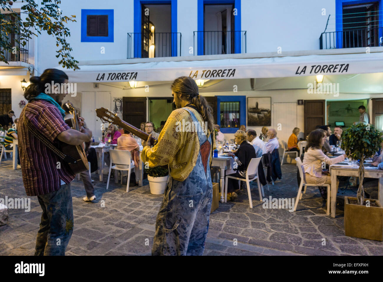 Street Musicians at Dalt Vila, Old City Center of Ibiza town, Spain - Stock Image