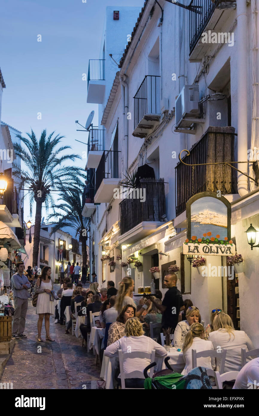 old city center of ibiza town street restaurants ibiza spain stock photo 78650059 alamy. Black Bedroom Furniture Sets. Home Design Ideas