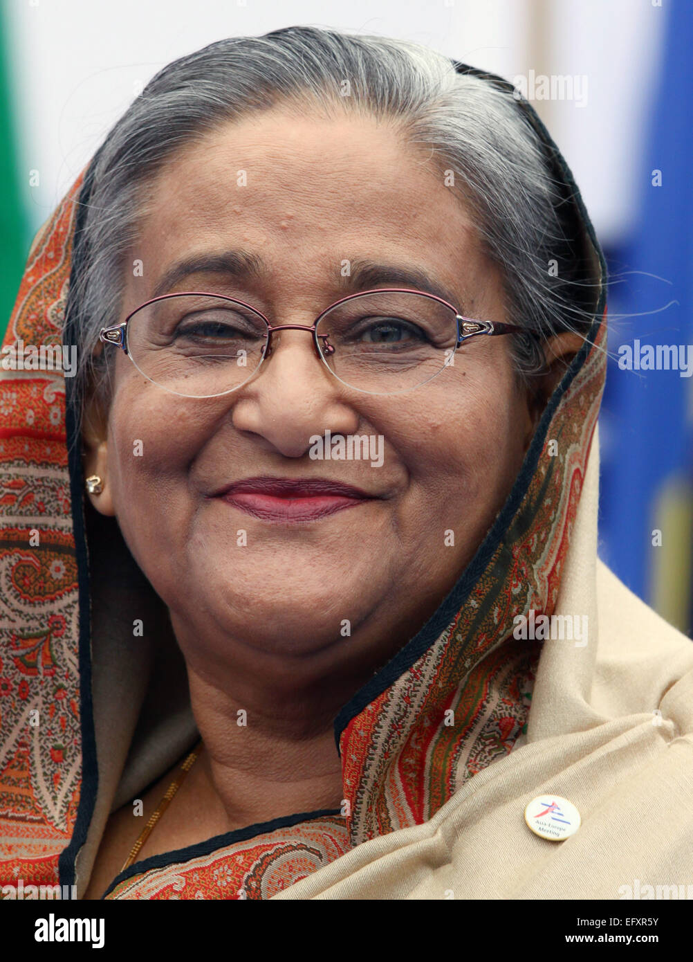 Italy, Milan:10/17/2014.Prime Minister of Bangladesh Sheikh Hasina prior to the start of a session at the ASEM Summit. - Stock Image