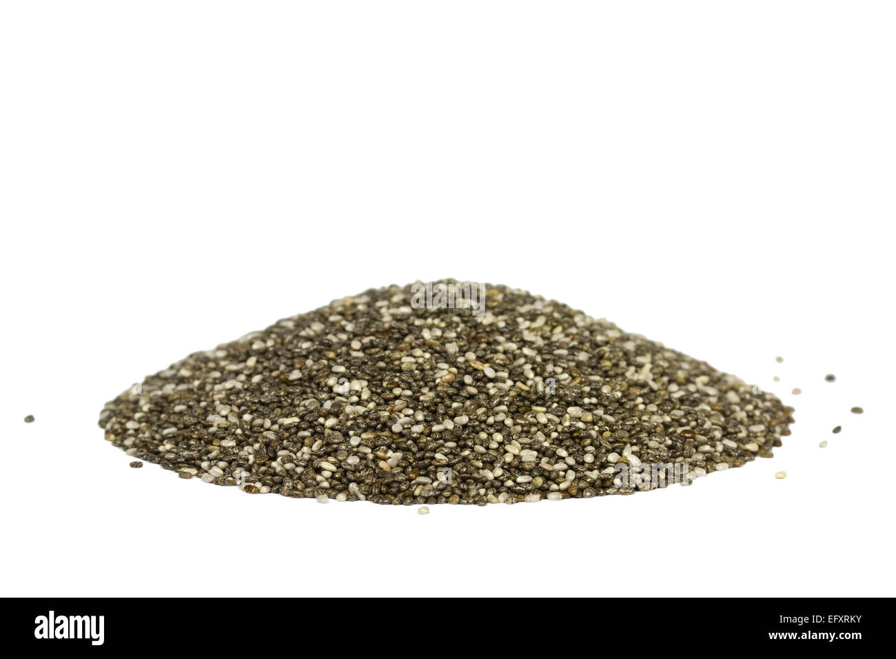 Side view of a pile with chia seeds. Isolated on white. The people of the ancient Aztec and Incan empires revered - Stock Image