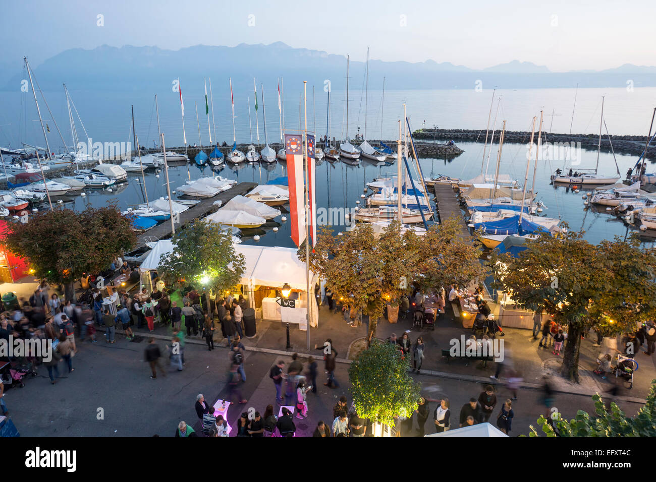 Lutry Wine Festival, Lavaux region, Lake Geneva, Swiss Alps,  Switzerland Stock Photo