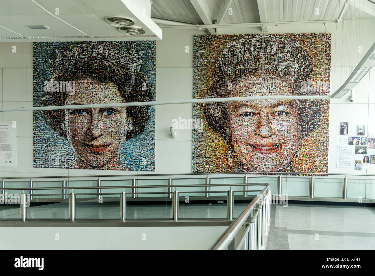 The Queen, Art by Helen Marchall, 5500 Pictures for a Mosaic to celebrate Her Majesty´s Diamond Jubilee , Gatwick - Stock Image