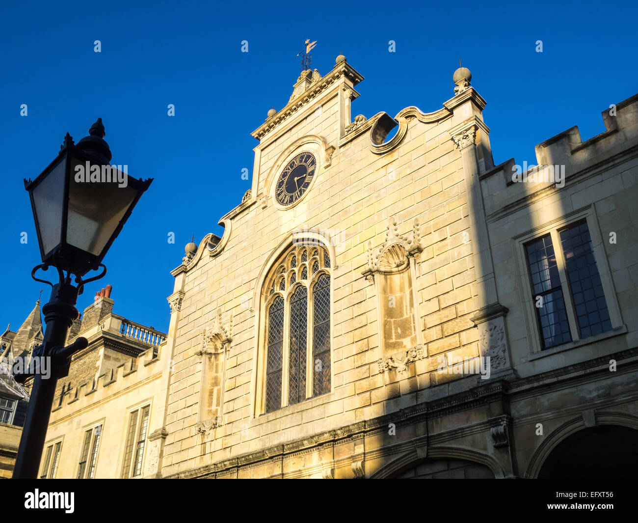The Clock tower, Peterhouse College, University of Cambridge, UK - Stock Image