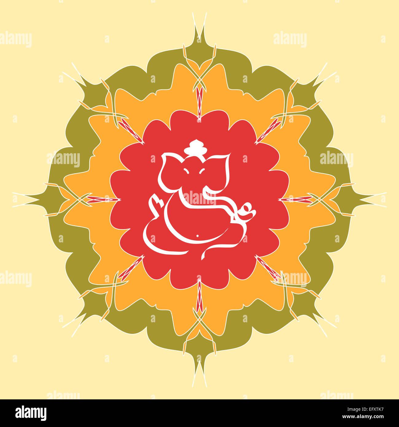Indian God Ganesha on mandala design Stock Photo
