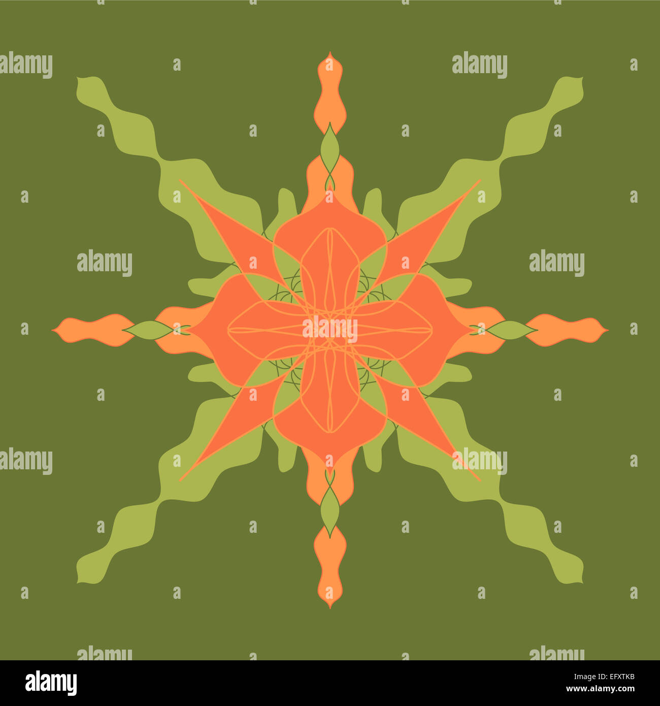 Orange green star pattern Stock Photo