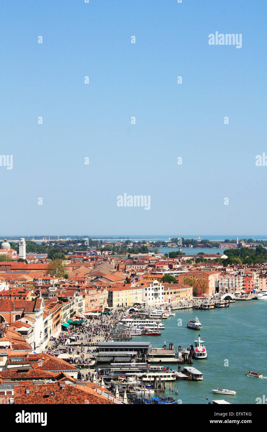 Boats and houses in Venice, Italy Stock Photo