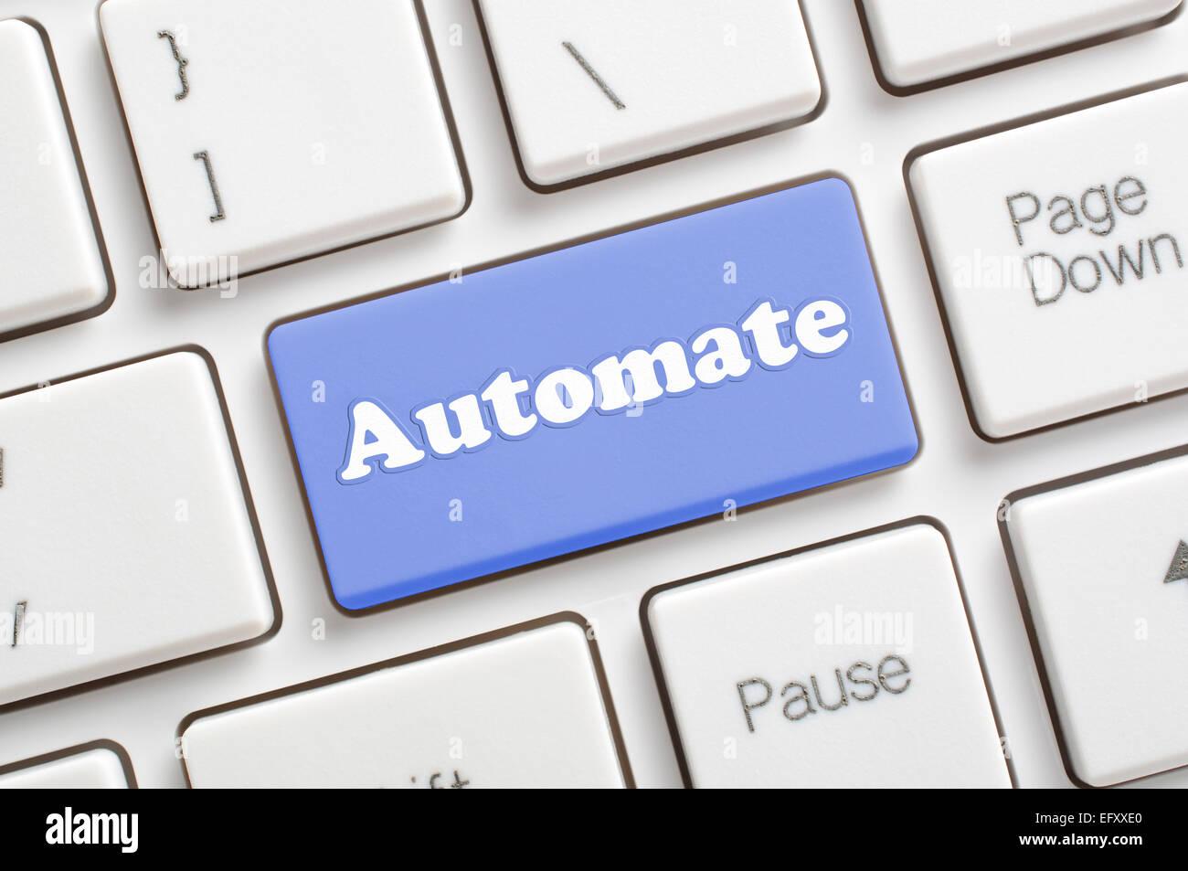 Blue automate key on keyboard - Stock Image