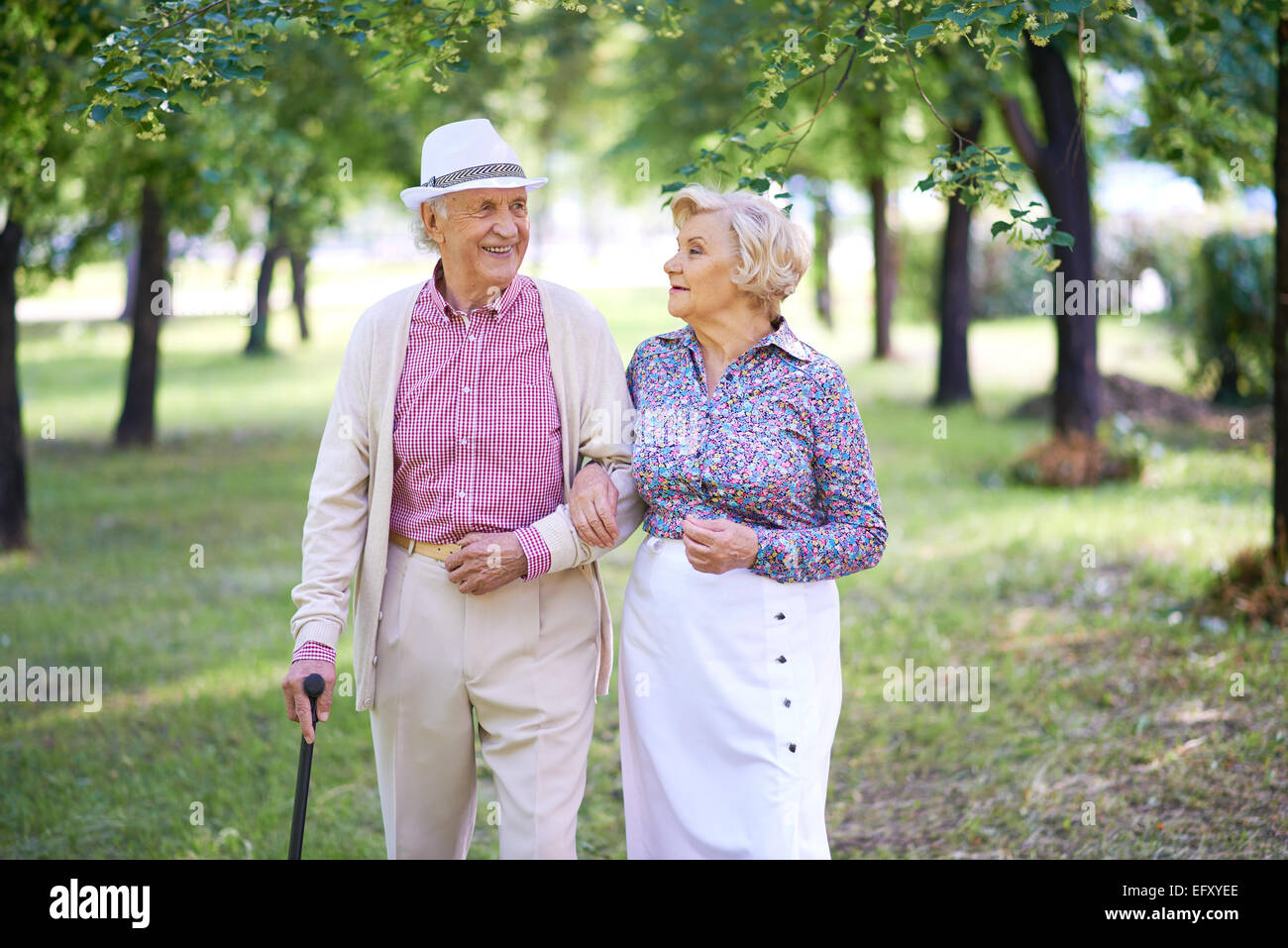 Elegant seniors taking a walk in the park in summer Stock Photo