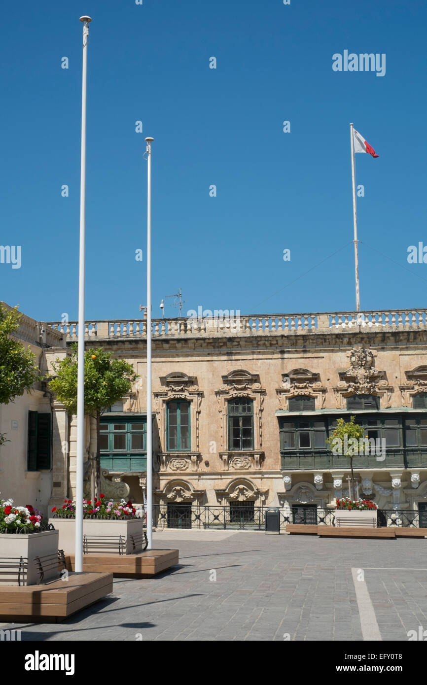 Flag poles in St George's Square,Valletta,Malta Stock Photo