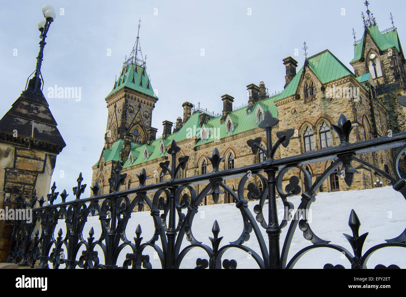 Ottawa's Parliament Hill houses Canada's national legislature and attracts three million visitors annually. Stock Photo