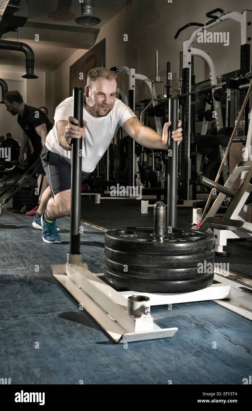 Man working out in a gym, pushing a sledge of weights - Stock Image