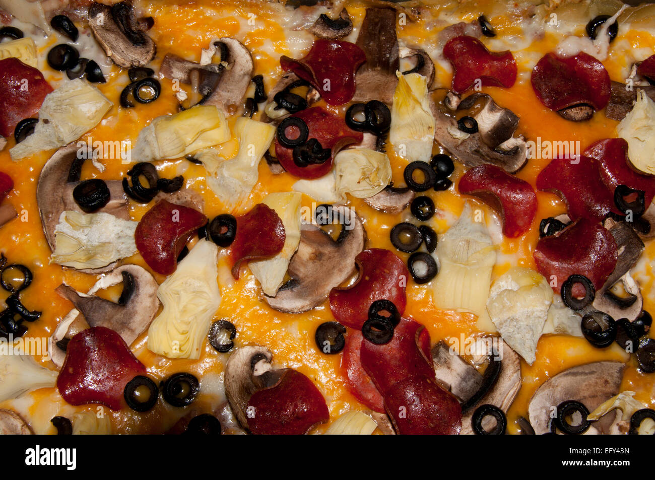 Pepperoni pizza close-up - Stock Image