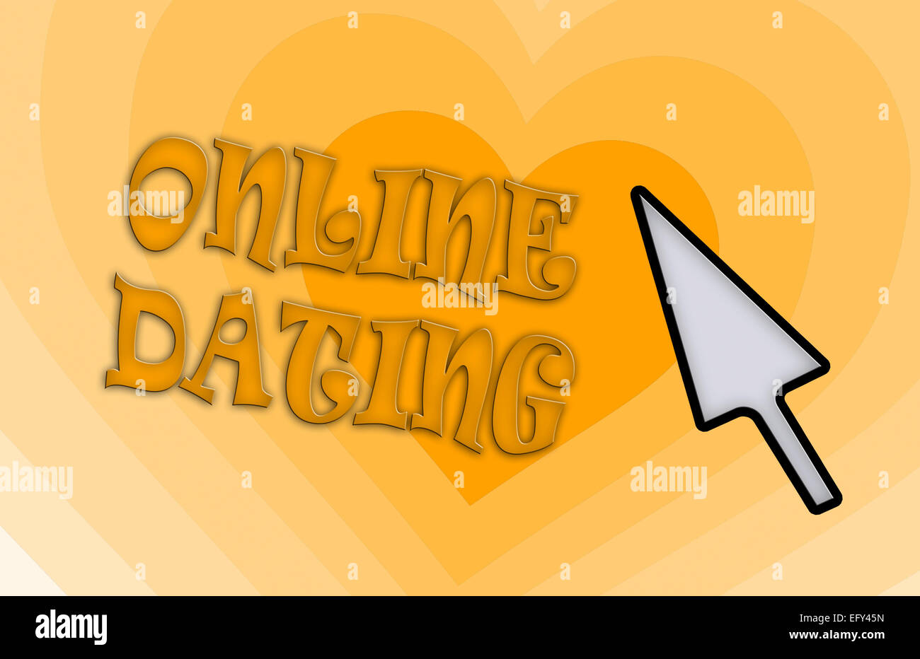Heart shape backgound - Concept of dating - orange - Stock Image