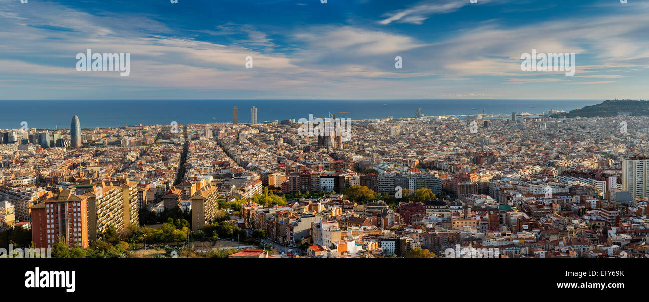 Panoramic view over Barcelona, Catalonia, Spain - Stock Image