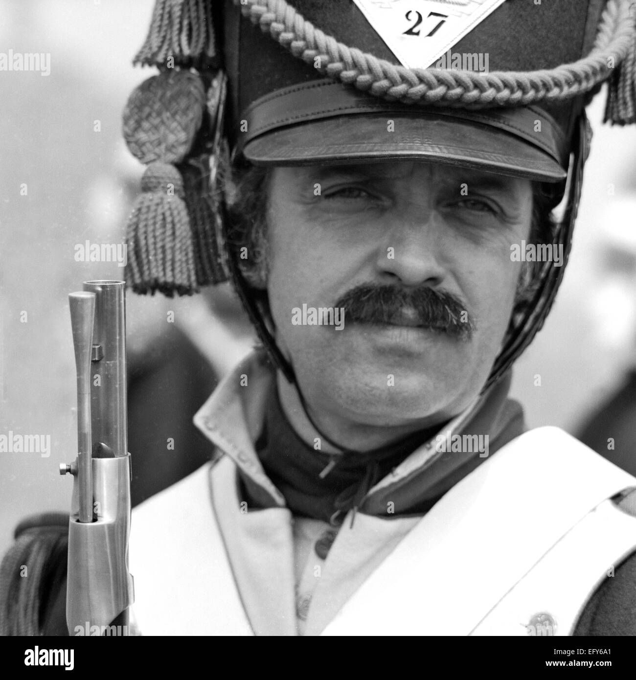 WATERLOO, BELGIUM -CIRCA 1990: Actor in costume during the reenactment of the Battle of Waterloo that in 1815 ended - Stock Image
