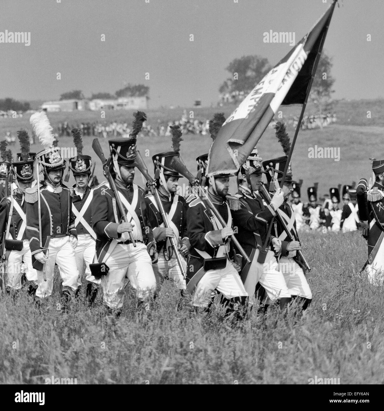 WATERLOO, BELGIUM -CIRCA 1990: Actors in costume during the reenactment of the Battle of Waterloo that in 1815 ended - Stock Image