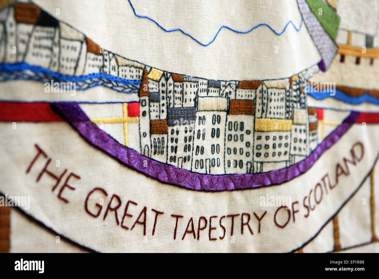 The Great Tapestry of Scotland exhibition which tells the story of Scotland's history from a unique perspective. - Stock Image