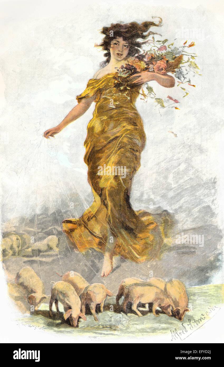 Modern goddess of fortune, by Schwarz, c. 1890 - Stock Image