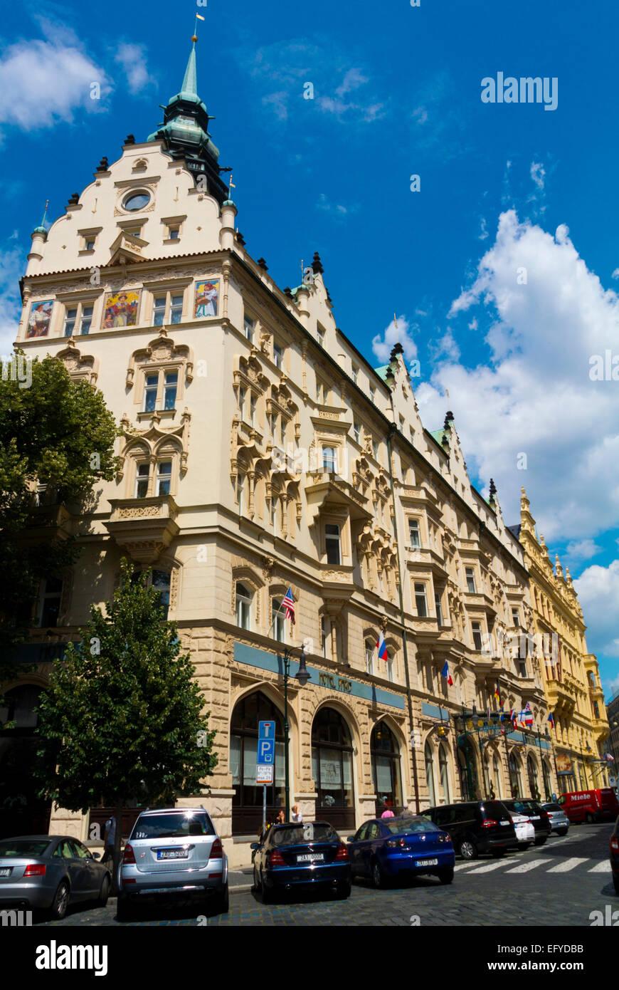 Hotel Paris (1904), Art Nouveau style hotel and cafe, old town, Prague, Czech Republic, Europe - Stock Image