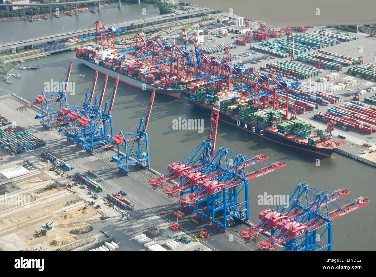 Aerial view, Port of Hamburg, Hamburg, Germany, Stock Photo