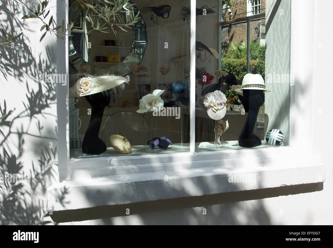Gina Foster Millinery shop window, Kensington Church Walk, London W8 - Stock Image