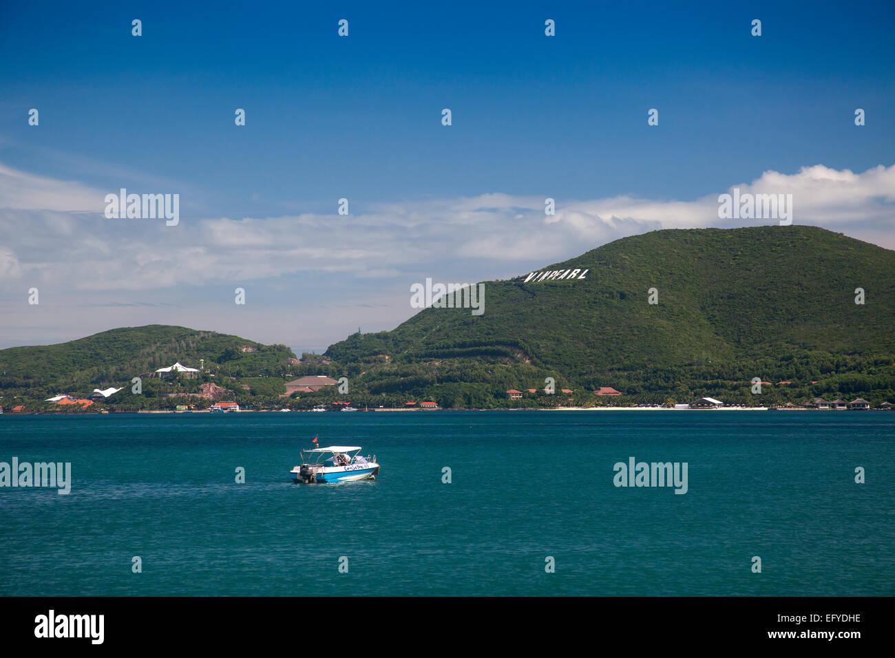 Bay of Nha Trang, Vinpearl island at the back, South China Sea, Nha Trang, Vietnam - Stock Image