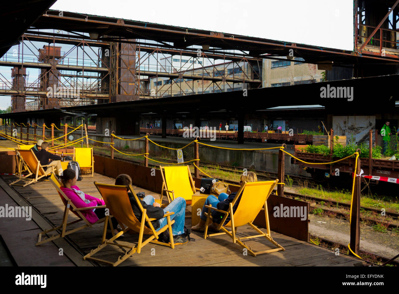 Bar terrace, Nakladove nadrazi Zizkov, Zizkov district former cargo railway station, Prague, Czech Republic, Europe - Stock Image
