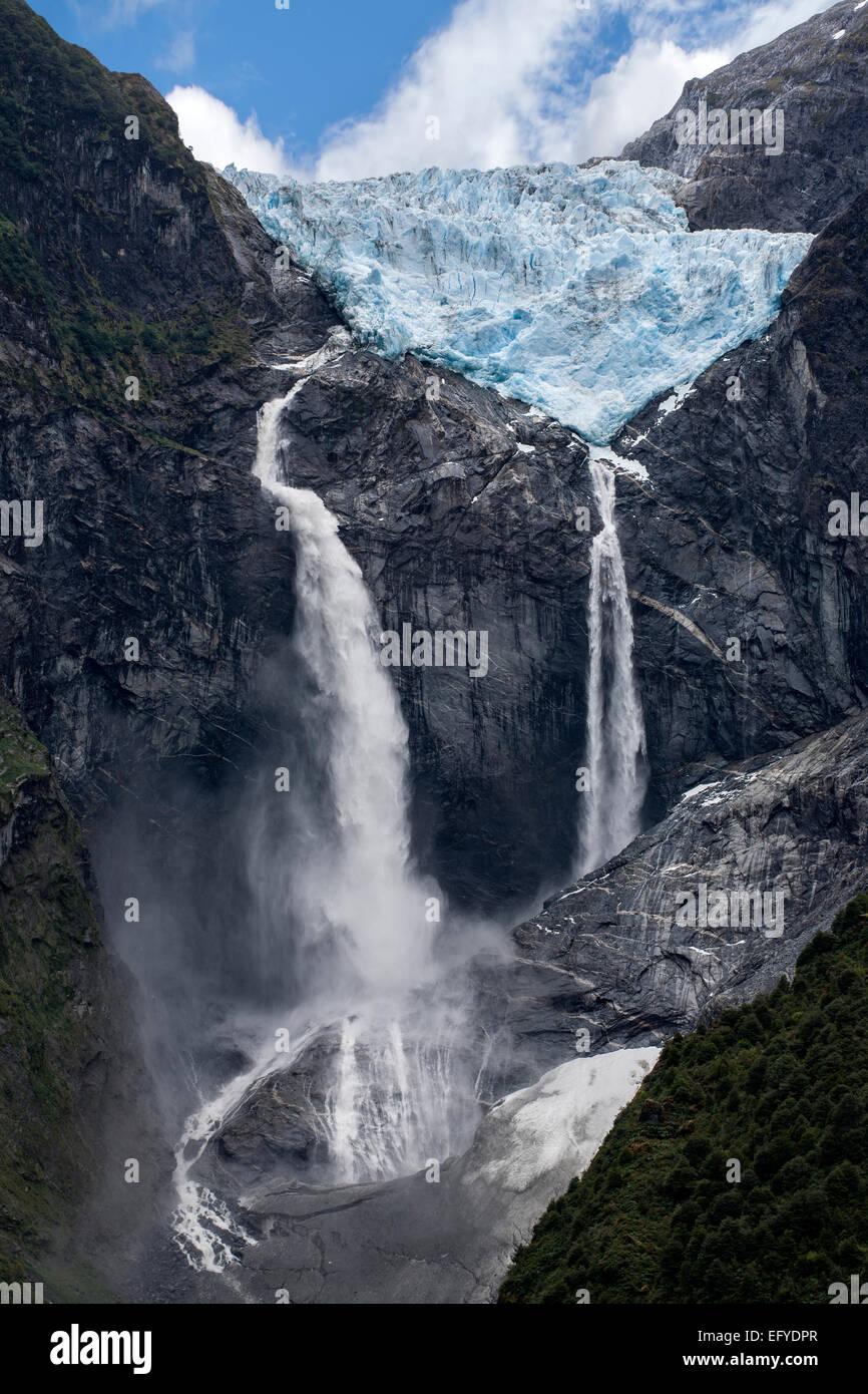Hanging glacier (Ventisquero colgante). Queulat National Park. Aysén region. Patagonia. Chile - Stock Image
