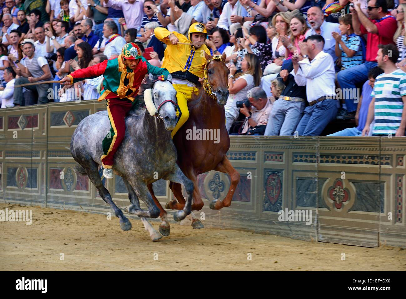 Overtaking manoeuvre of the winner at the historic horse race Palio di Siena, Piazza del Campo, Siena, Tuscany, - Stock Image