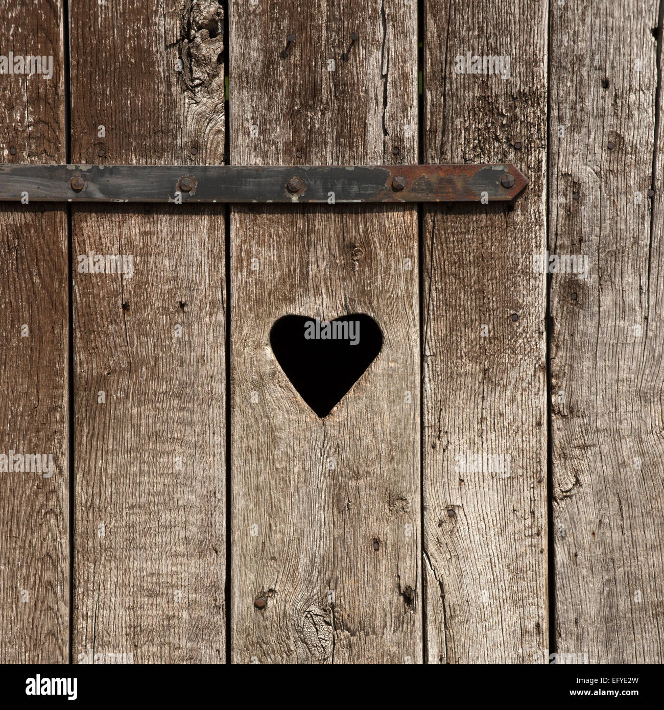 Weathered wooden door with a heart, outside toilet - Stock Image
