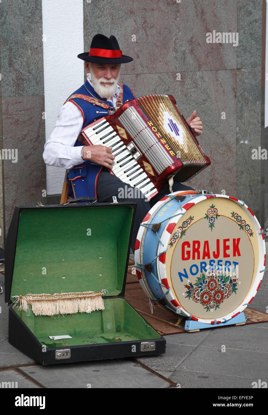 Street musician in Opole (Oppeln), Silesia, Poland, Europe - Stock Image